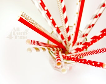 Xmas Merry Christmas Paper Straws 20 pcs Xmas color set. Chevron, Stripes, Dots Drinks Decoration for Party, Event