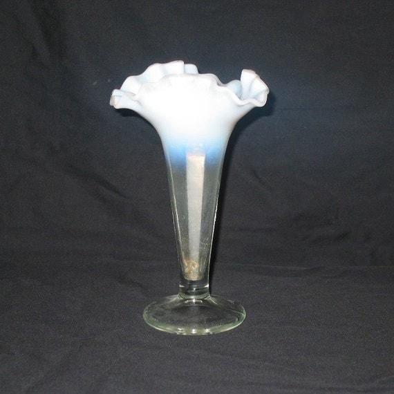 White Blue Ruffled Glass Vase Ruffled Glass Vase