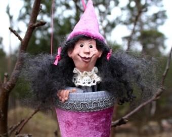 "ART DOLL ""Danielle"" Hand Sculpted Papier Mache tut tut Puppet / Toy / Popup doll"