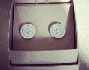Hand Made Fine Silver Button Cufflinks