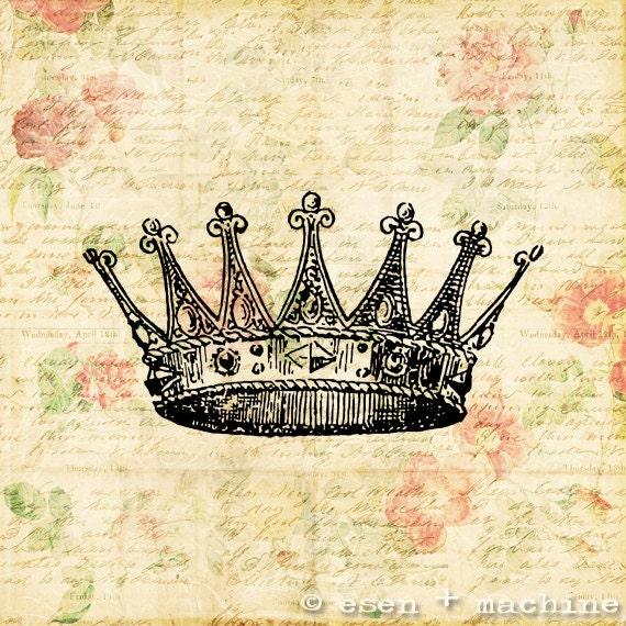 Items similar to Vintage Crown Art Print - Real Vintage