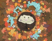 Hedgehog: Luv Song - Wild Garden Animal Hedgehog A3 Art Print based on Love Poem, Tabby Cat, Autumn Leaves, Turquoise Starlit Sky with Moon