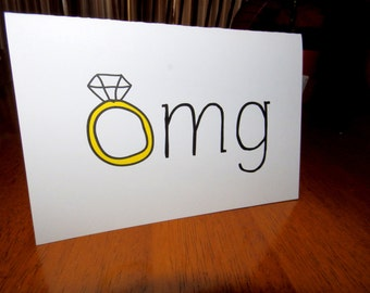 """Funny Announcement/Congratulations/Engagement Card, """"OMG"""", Homemade Greeting Card"""