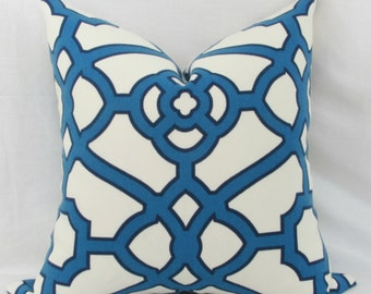 "Blue fretwork indoor/outdoor throw pillow cover. 18"" x 18"". 20"" x 20"". outdoor pillow cover."