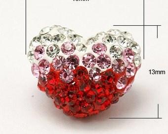 Red Heart, Puffy Heart, Pink Heart, Rhinestone Heart, Heart Charm, Heart Pendant, - 13x16mm - 2ct - #291
