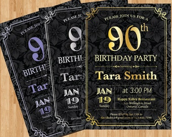 60th Birthday Invitation Gold Silver or Any color chalkboard