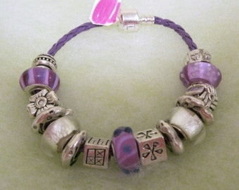 153 - CLEARANCE - Lavender and Silver Bracelet