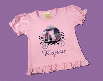Girl's Princess Shirt with Carriage and Embroidered Name