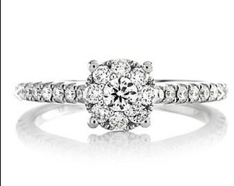 Diamond Engagement Ring Genuine Diamond Floret Engagement Ring Wedding Ring .49ctRound Diamonds Ring White Gold Ring Pristine Custom Rings