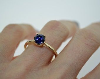 Yellow Gold Engagement Ring Round 6.5mm Blue Sapphire Bloomed Love Collection Engagement Ring Wedding Anniversary Ring