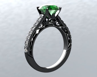 Engagement Ring VICTORIAN LOVE Collection 14kt Gold Black Rhodium 6.5mm Round Emerald Genuine Diamond sides Engagement Ring Wedding Ring