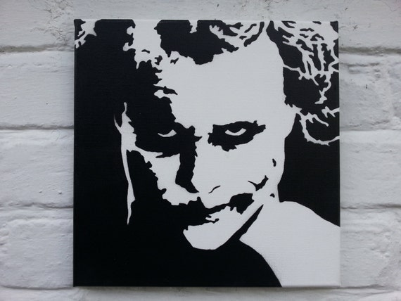 Original au pochoir toile peinture le joker heath ledger for Pochoir peinture