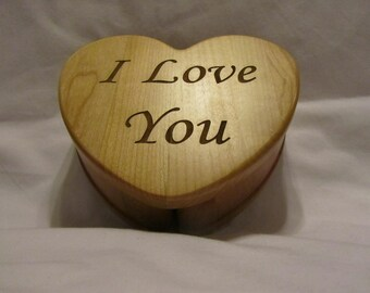 Personalized Wood Heart Keepsake Box Custom Engraved- I Love You