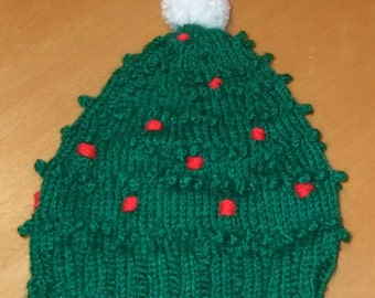 Christmas Tree Hat Knitting Pattern Age 2 to 7 (Double Knitting)