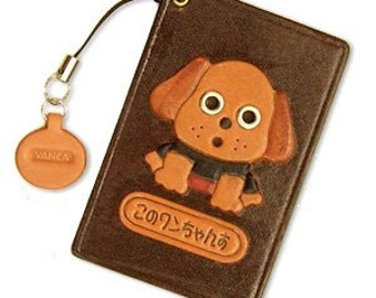Dog Leather Dog Commuter Pass/Pass/Card/ID/Badge Case/Holder/Holders *VANCA* Made in Japan #26404 Free Shipping