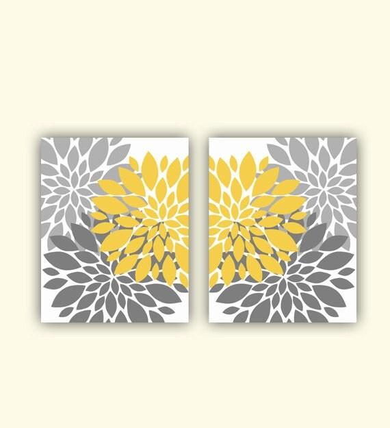 mustard yellow gray flower burst wall art by. Black Bedroom Furniture Sets. Home Design Ideas
