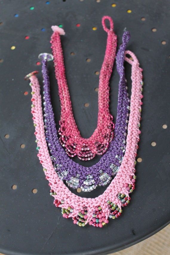 Glam Girl Necklace Pattern Bead Knit Necklace for Children
