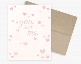 You and Me, Eco-friendly Greeting Card, Anniversary, Valentine, I love you card
