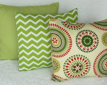 pillow cover set , two 16x16 or 18x18 throw pillows green chevron, Apple green pillow, Suzani pillow cover, throw pillow cover set