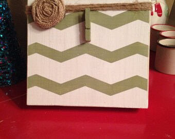 Sage Green and White Chevron Rustic Wood Photo Frame with Burlap Flower