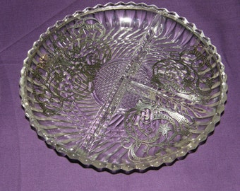 VINTAGE STERLING Silver Overlay Pickle/Cheese Divided Dish