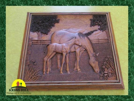 Kim murray intricate wood carving horses