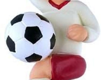 Soccer Player Ornament Boy Male Brown Hair Christmas Tree Ornament Can Personalize Name