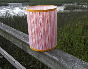 Small Drum Lamp Shade with Squiggly Orange, Lavender Lines