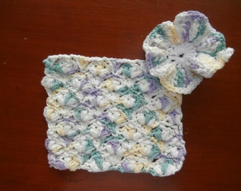 Dish Cloths - Set of 2 - Soft Pastels - 100% Cotton Hand Crocheted - Kitchen Gear - Bathroom - Purple - Green - Yellow - Yellow - Dishcloth
