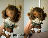 monster doll pattern / human doll pattern / forest doll pattern / sewing pattern AND detailed tutorial