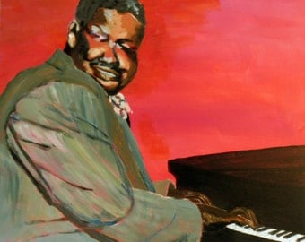 "Oscar Peterson Original Acrylic Painting Jazz 20"" x 16""  on Box Canvas"