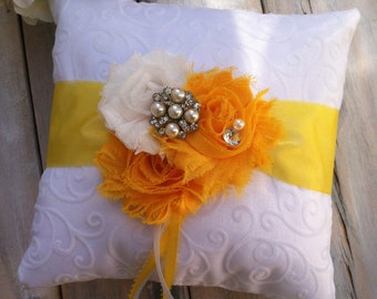 Ring Bearer Pillow, Yellow Ring Bearer Pillow, Sunflower Ring Pillow, Shabby Chic Ring Bearer Pillow, Bridal Accessory, YOUR CHOICE COLOR