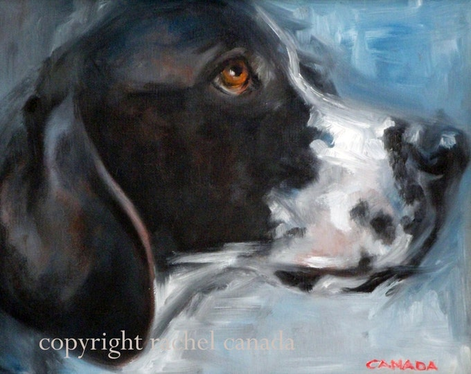 "English Pointer Dog Oil Painting Print - ""Blue Gaze"""