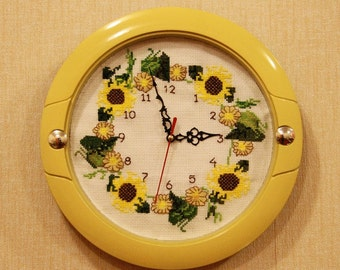 Cross Stitch Embroidery Wall Clock, sunflowers cross stitch embroidery, wall clock, watch, completed cross stitch, Finished embroidery