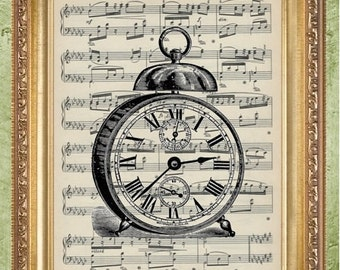 Sheet Music Print Alarm Clock Print Dictionary Art Print Wall Decor