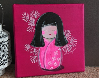Acrylic on canvas Mini Kokeshi Yumi