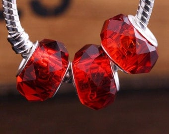 SALE**Clearance Sale**Red Crystal European Style Glass Beads