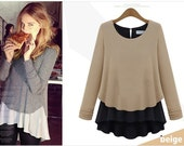 Showmyfashion 2014 Women's clothing Outfit Skirt Plus Size Long Splicing Two Render Sweater T-Shirt