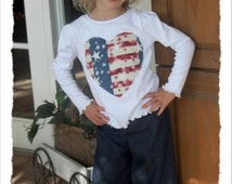 Ready to Ship!  American Flag and denim girls/Toddler   2 pc Pant Set size 12mos,2T,3T,4T,5T,6T,7 up