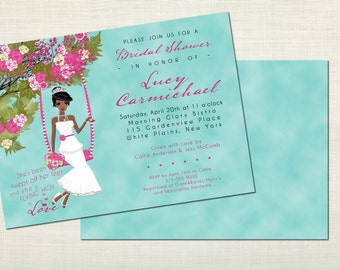 Swingin' Romance Bridal Shower Invitations - African American