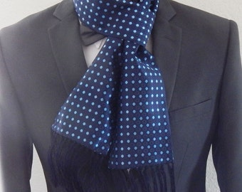 Mens Scarf Navy With Sky Blue Dots Mens Fashion Scarf