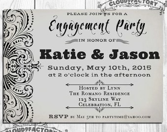 Gray Engagement Party Invitation