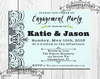Blue Engagement Party Invitation