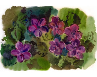 flowers picture, picture with flowers, watercolor violets, home Decor, graphics purple, green watercolor, spring, freshness, A4, А5