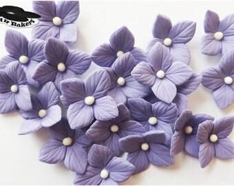 Plush Purple Flowers Hydrangea Veined Various Colors Set edible sugar cake cupcake toppers