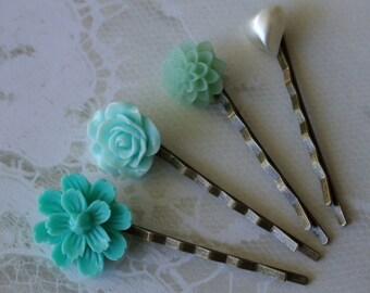 Garden Flowers Pin Set- Hair Accessories- Mint Green and Pearl Bobby Pins- Set of Four- Spring and Summer Colors, Hair Pins