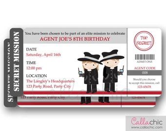 Secret Agent Invitation PRINTABLE - Spy Detective Secret Mission - Boy/Girl Top Secret Birthday Party
