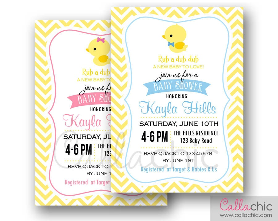 rubber duck baby shower invitation printable boy girl