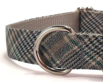 Black and Tan Plaid Dog Collar - Preppy Dog Collar - Classic Style Collar