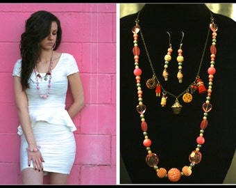 sweets sweet tooth pink candy necklace and earrings set handmade